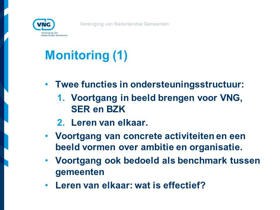 Vereniging van Nederlandse Gemeenten Monitoring (1) Twee functies in ondersteuningsstructuur: 1.Voortgang in beeld brengen voor VNG, SER en BZK 2.Lere