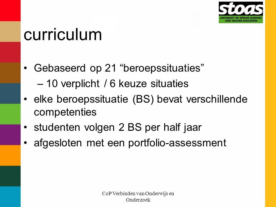 """CoP Verbinden van Onderwijs en Onderzoek curriculum Gebaseerd op 21 """"beroepssituaties"""" –10 verplicht / 6 keuze situaties elke beroepssituatie (BS) bev"""