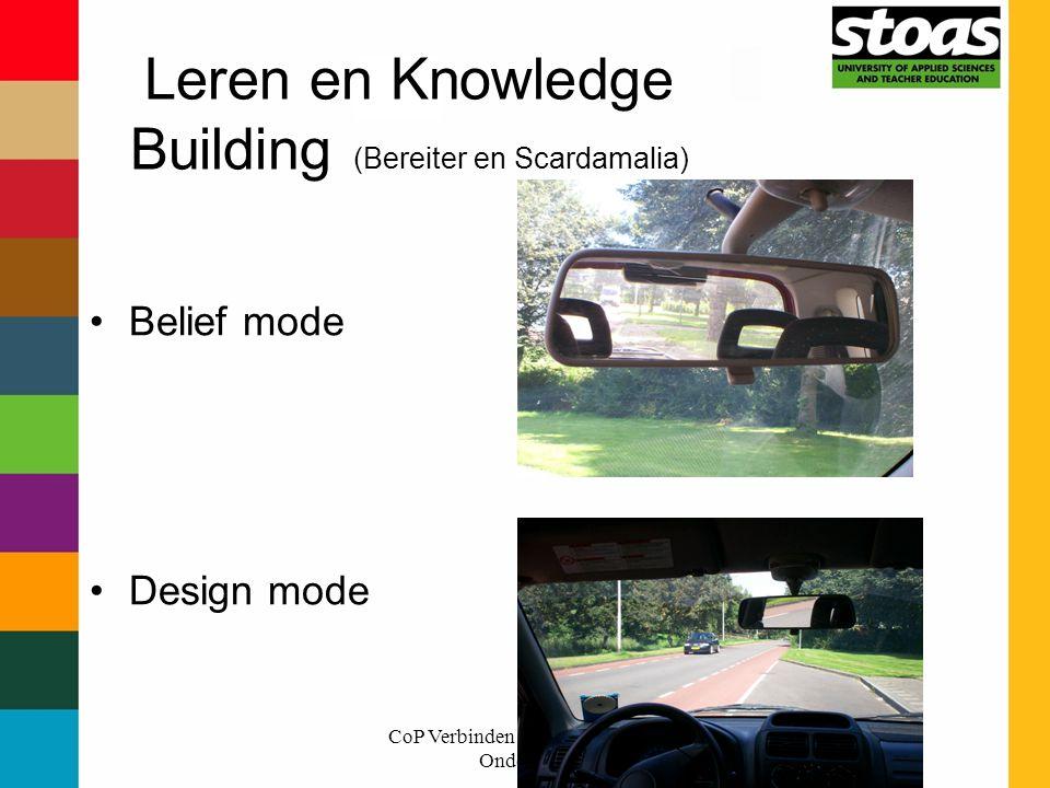CoP Verbinden van Onderwijs en Onderzoek Belief mode Design mode Leren en Knowledge Building (Bereiter en Scardamalia)