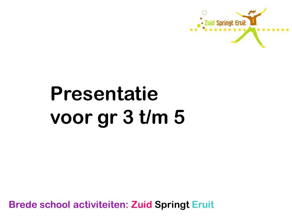 Brede school activiteiten: Zuid Springt Eruit Presentatie voor gr 3 t/m 5