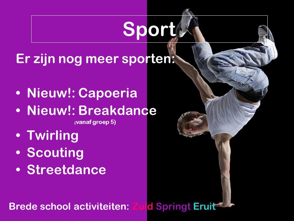 Sport Er zijn nog meer sporten: Nieuw!: Capoeria Nieuw!: Breakdance ( vanaf groep 5) Twirling Scouting Streetdance Brede school activiteiten: Zuid Spr