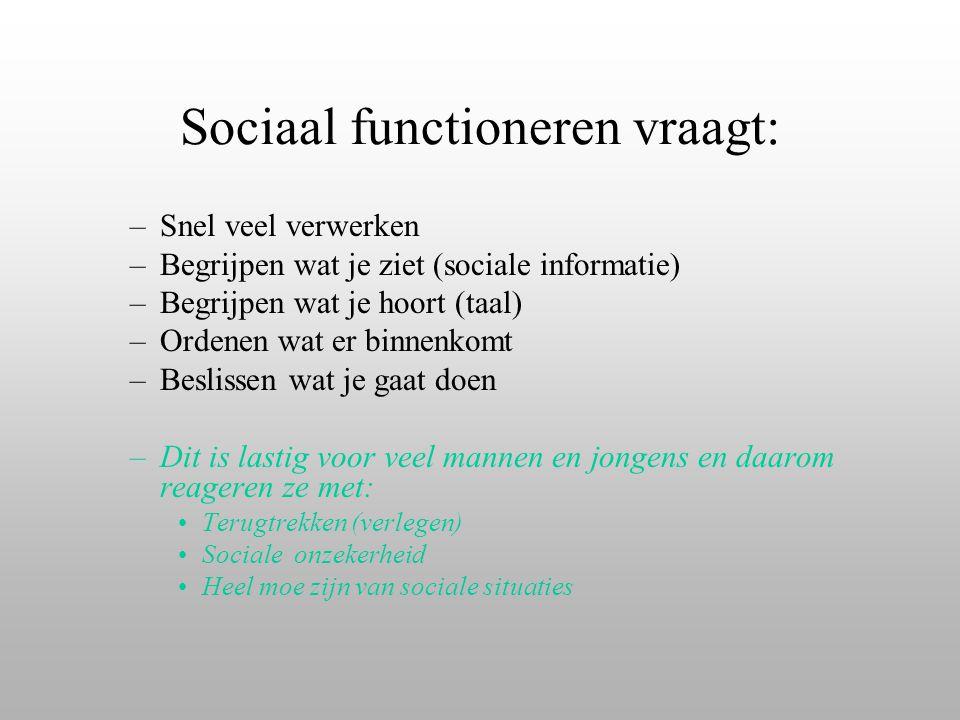 Sociaal functioneren vraagt: –Snel veel verwerken –Begrijpen wat je ziet (sociale informatie) –Begrijpen wat je hoort (taal) –Ordenen wat er binnenkom