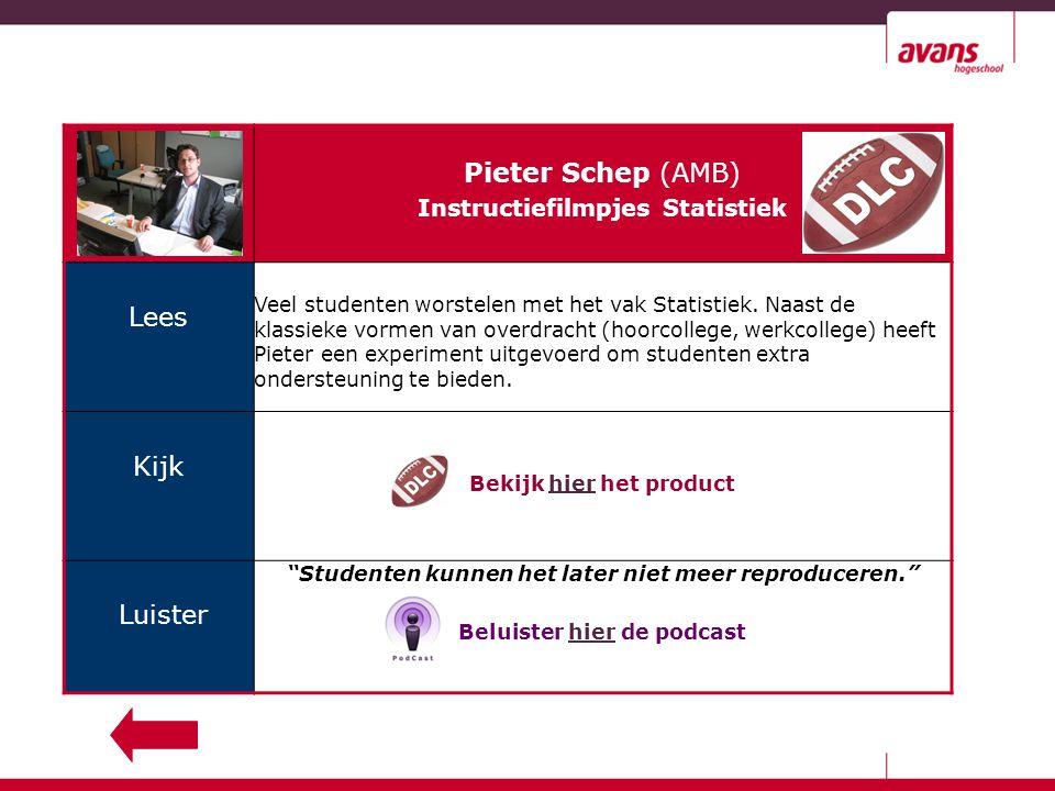 Pieter Schep (AMB) Instructiefilmpjes Statistiek Lees Veel studenten worstelen met het vak Statistiek.