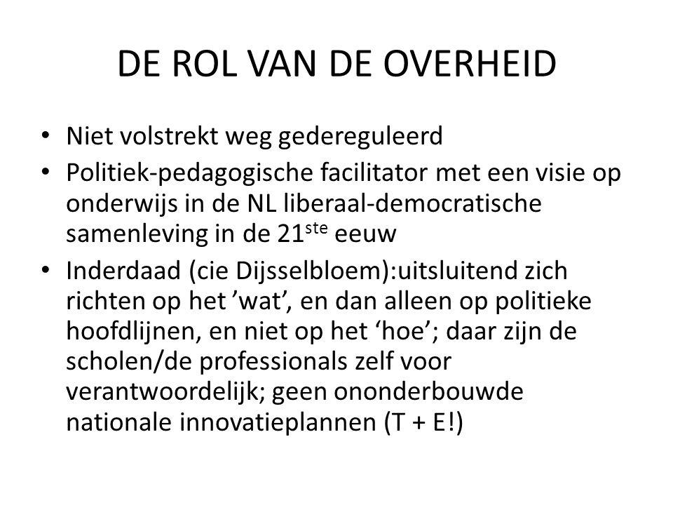 DE ROL VAN DE OVERHEID Niet volstrekt weg gedereguleerd Politiek-pedagogische facilitator met een visie op onderwijs in de NL liberaal-democratische s