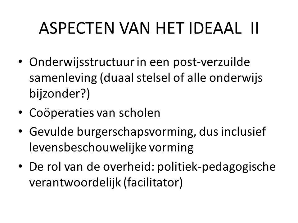 ASPECTEN VAN HET IDEAAL II Onderwijsstructuur in een post-verzuilde samenleving (duaal stelsel of alle onderwijs bijzonder?) Coöperaties van scholen G