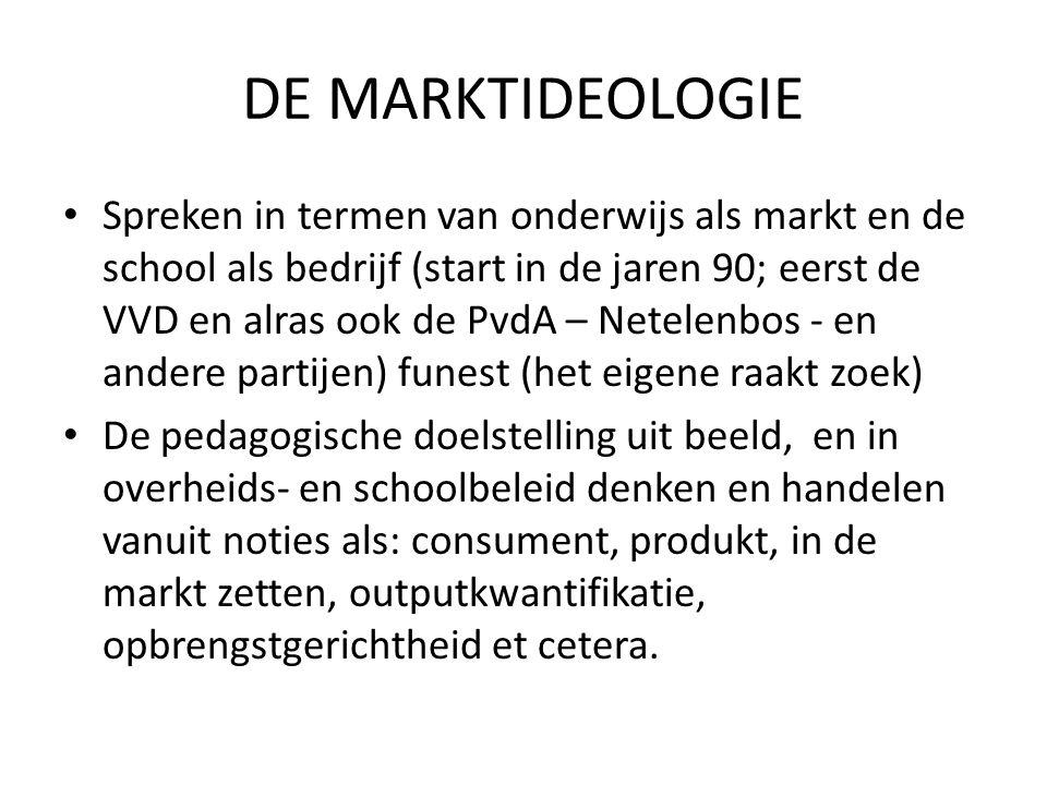 DE MARKTIDEOLOGIE Spreken in termen van onderwijs als markt en de school als bedrijf (start in de jaren 90; eerst de VVD en alras ook de PvdA – Netele
