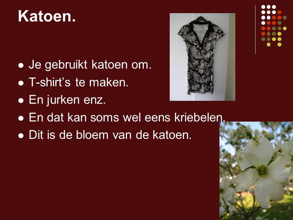 Katoen. Je gebruikt katoen om. T-shirt's te maken. En jurken enz. En dat kan soms wel eens kriebelen. Dit is de bloem van de katoen.