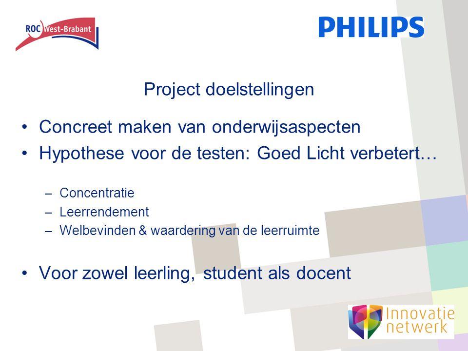 Project doelstellingen Concreet maken van onderwijsaspecten Hypothese voor de testen: Goed Licht verbetert… –Concentratie –Leerrendement –Welbevinden & waardering van de leerruimte Voor zowel leerling, student als docent
