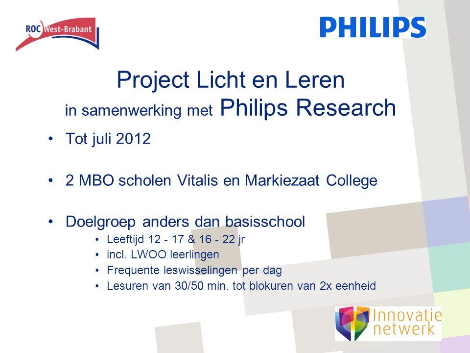 Project Licht en Leren in samenwerking met Philips Research Tot juli 2012 2 MBO scholen Vitalis en Markiezaat College Doelgroep anders dan basisschool Leeftijd 12 - 17 & 16 - 22 jr incl.