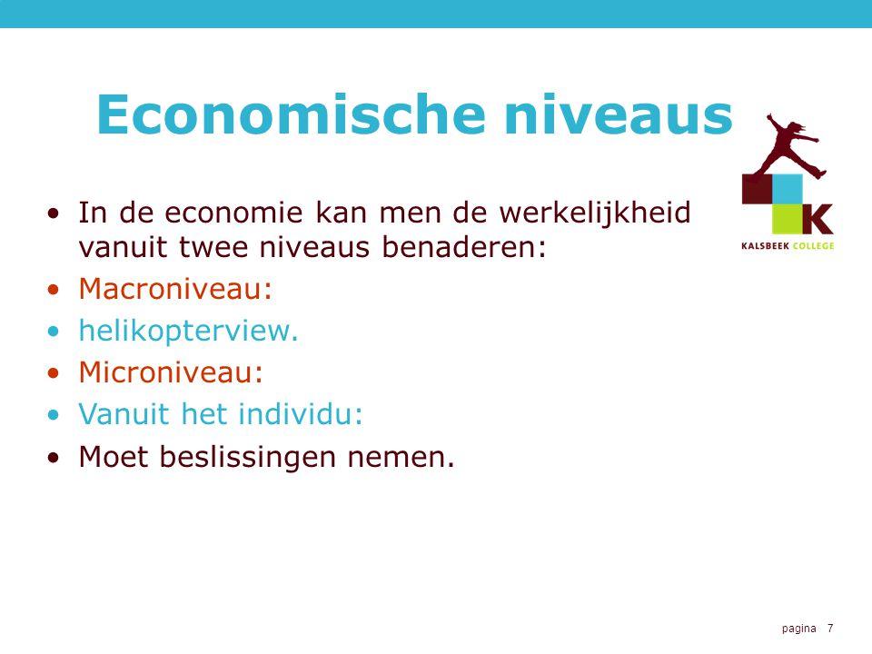 pagina 7 Economische niveaus In de economie kan men de werkelijkheid vanuit twee niveaus benaderen: Macroniveau: helikopterview. Microniveau: Vanuit h