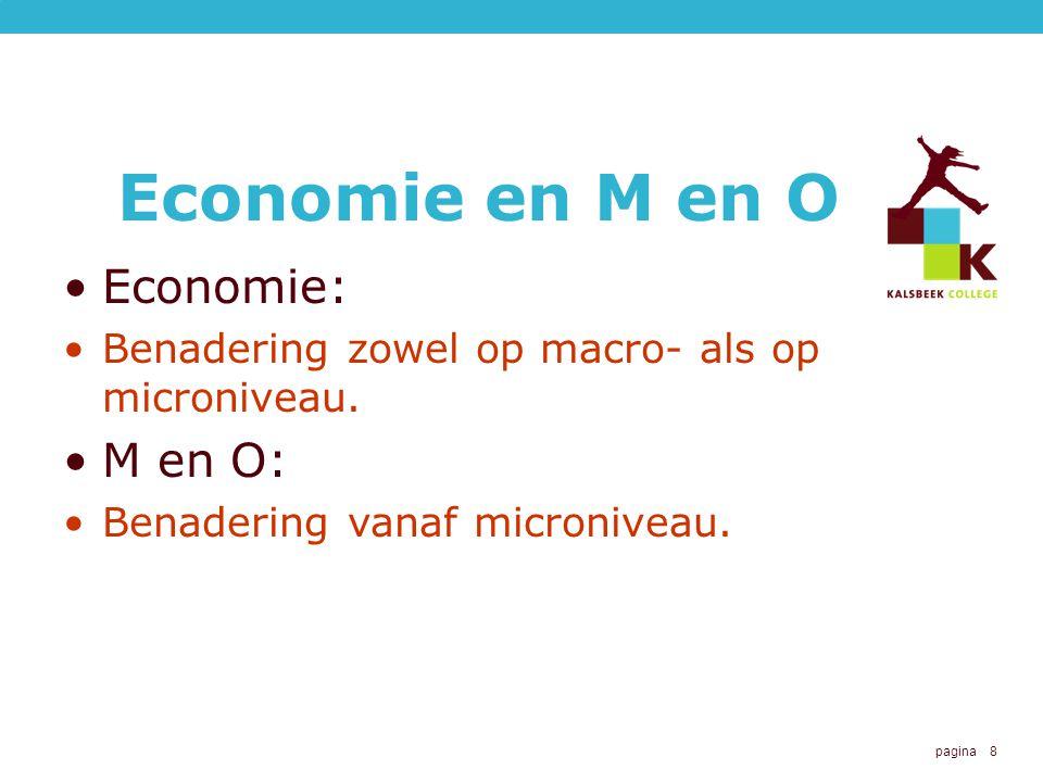 pagina 8 Economie en M en O Economie: Benadering zowel op macro- als op microniveau. M en O: Benadering vanaf microniveau.
