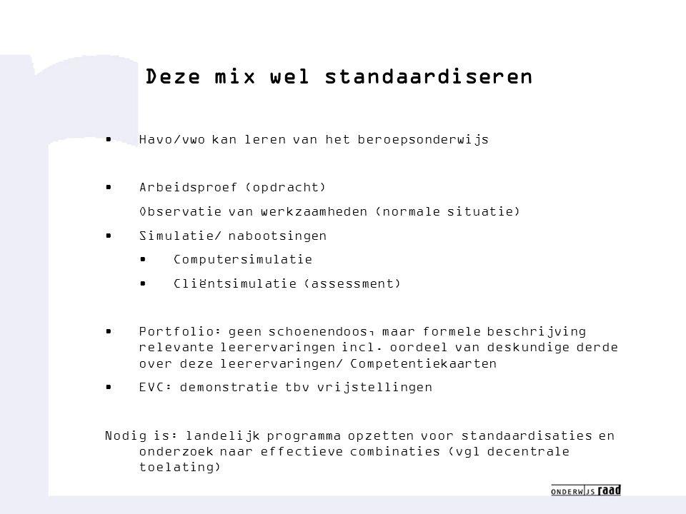 Deze mix wel standaardiseren Havo/vwo kan leren van het beroepsonderwijs Arbeidsproef (opdracht) Observatie van werkzaamheden (normale situatie) Simul
