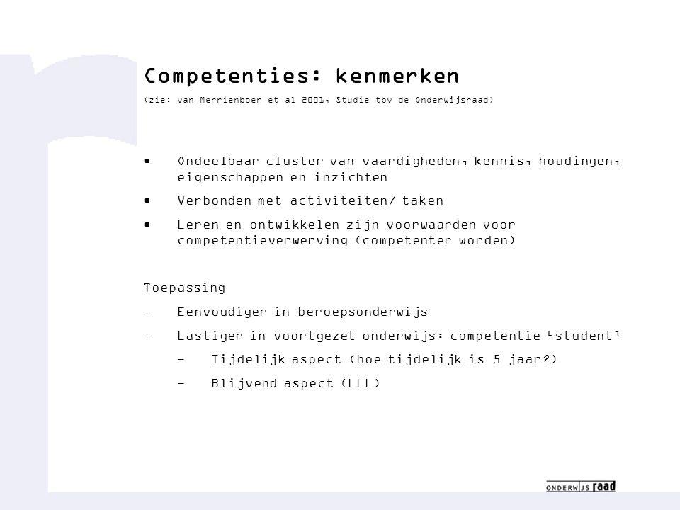 Competenties: kenmerken (zie: van Merrienboer et al 2001, Studie tbv de Onderwijsraad) Ondeelbaar cluster van vaardigheden, kennis, houdingen, eigensc
