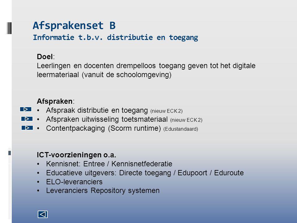 Afsprakenset B Informatie t.b.v. distributie en toegang Doel: Leerlingen en docenten drempelloos toegang geven tot het digitale leermateriaal (vanuit