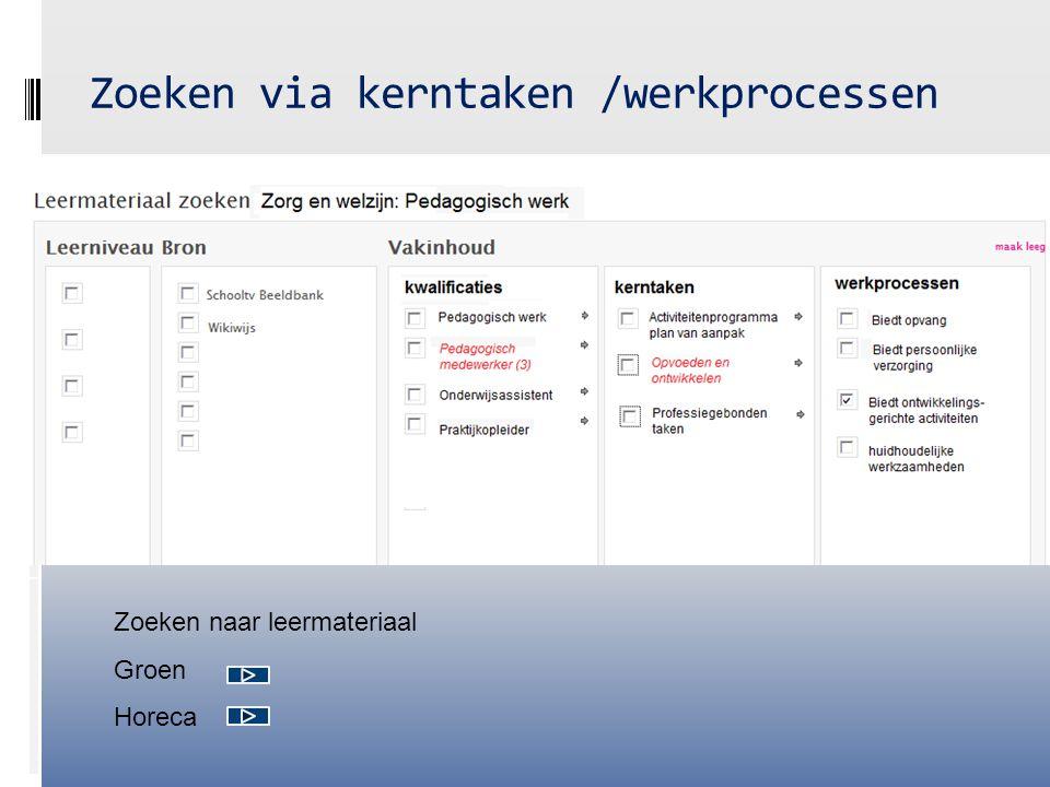 Zoeken via kerntaken /werkprocessen Zoeken naar leermateriaal Groen Horeca