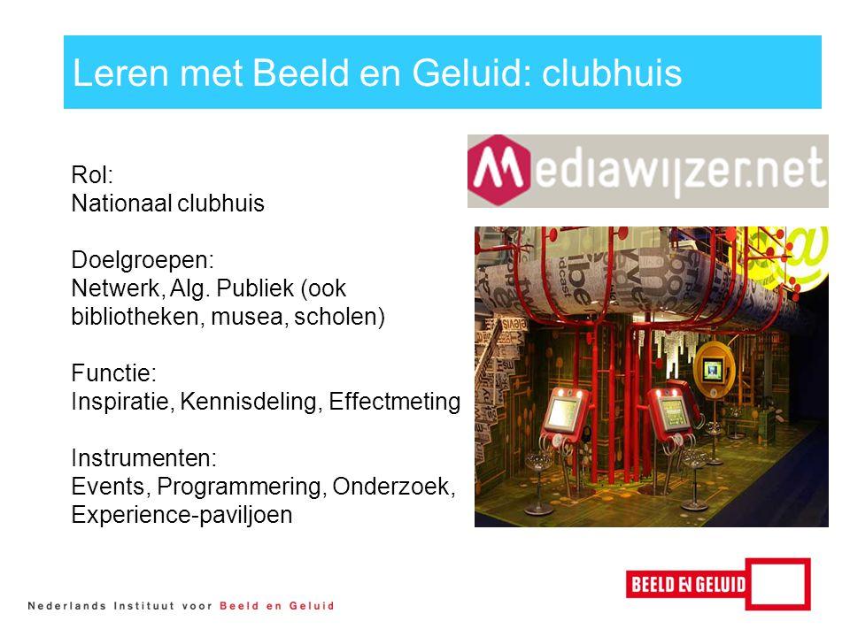 Rol: Nationaal clubhuis Doelgroepen: Netwerk, Alg.