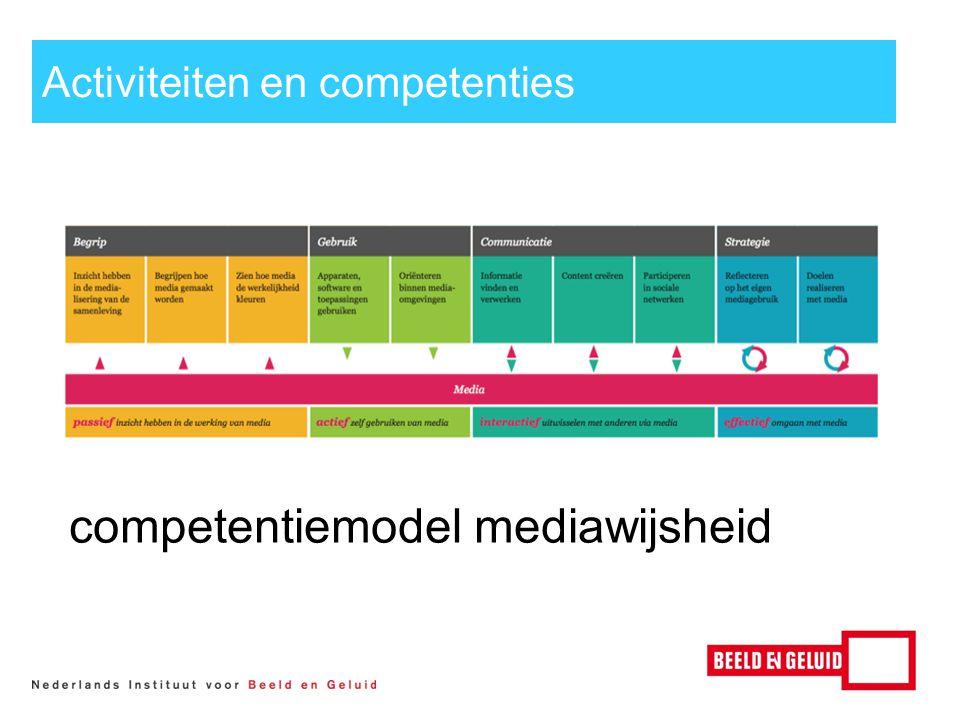 Activiteiten en competenties competentiemodel mediawijsheidl