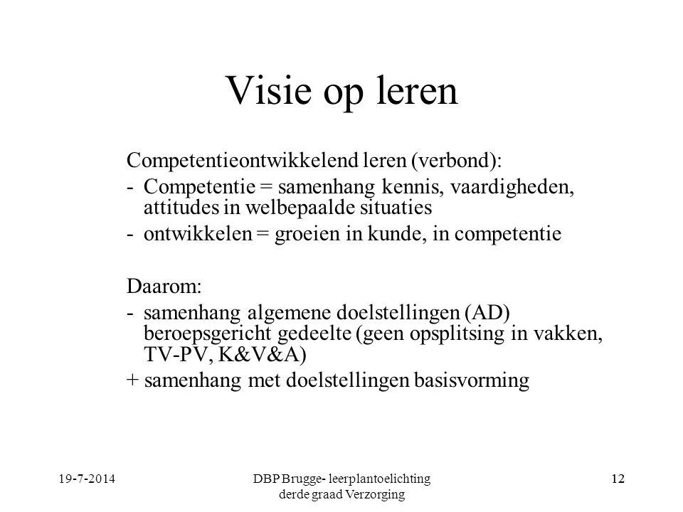 Visie op leren Competentieontwikkelend leren (verbond): -Competentie = samenhang kennis, vaardigheden, attitudes in welbepaalde situaties -ontwikkelen