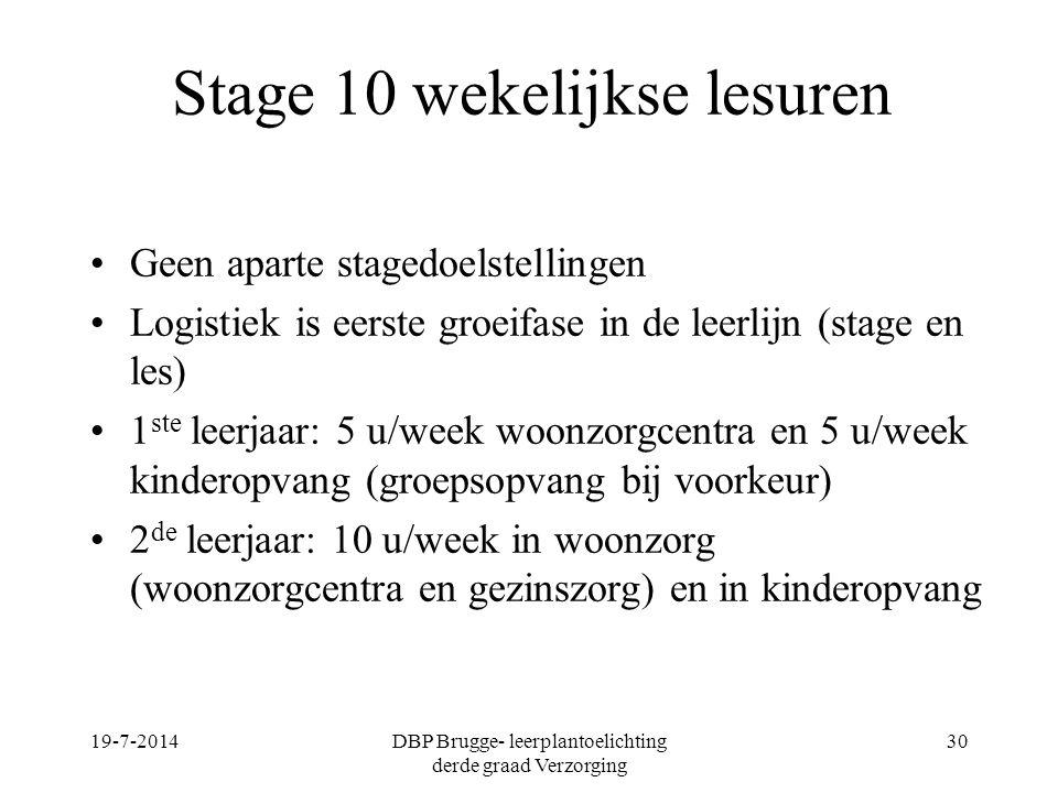 Stage 10 wekelijkse lesuren Geen aparte stagedoelstellingen Logistiek is eerste groeifase in de leerlijn (stage en les) 1 ste leerjaar: 5 u/week woonz