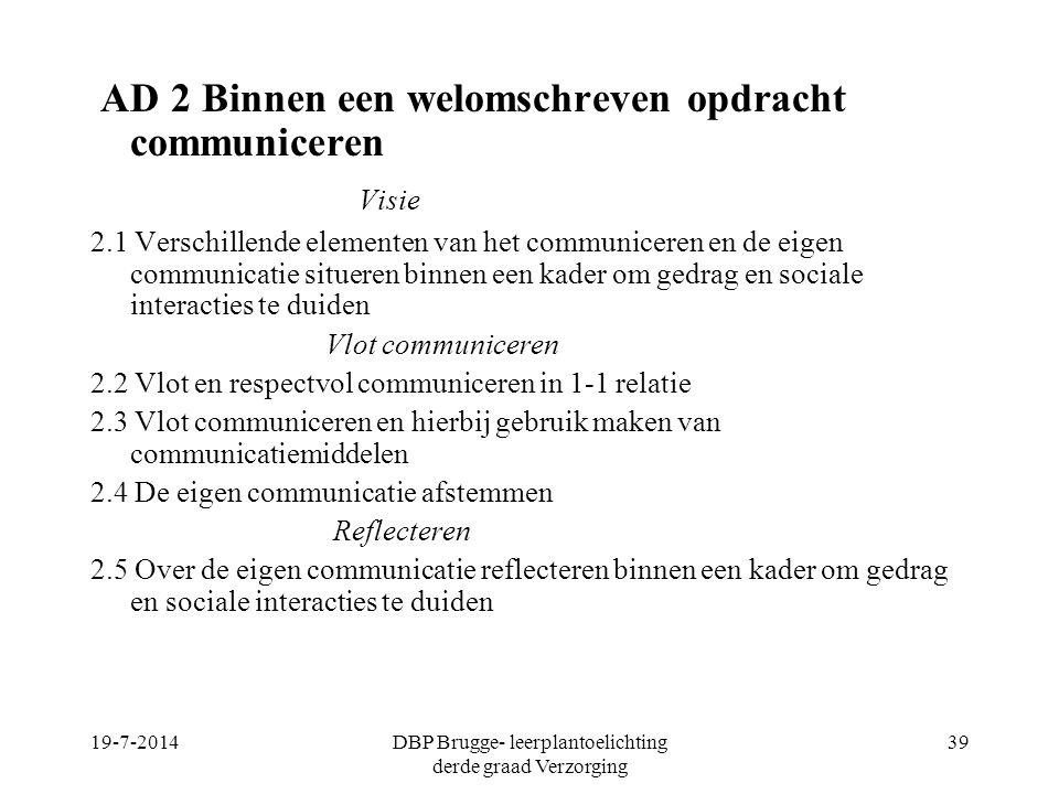 AD 2 Binnen een welomschreven opdracht communiceren Visie 2.1 Verschillende elementen van het communiceren en de eigen communicatie situeren binnen ee