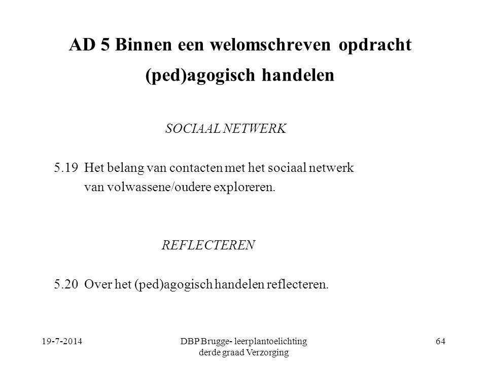 AD 5 Binnen een welomschreven opdracht (ped)agogisch handelen SOCIAAL NETWERK 5.19 Het belang van contacten met het sociaal netwerk van volwassene/oud