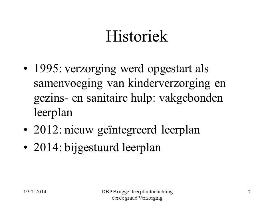Historiek 1995: verzorging werd opgestart als samenvoeging van kinderverzorging en gezins- en sanitaire hulp: vakgebonden leerplan 2012: nieuw geïnteg
