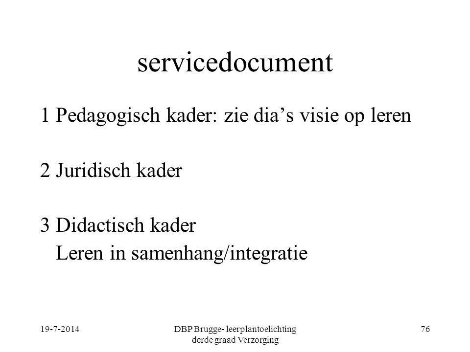 servicedocument 1 Pedagogisch kader: zie dia's visie op leren 2 Juridisch kader 3 Didactisch kader Leren in samenhang/integratie 19-7-2014DBP Brugge-