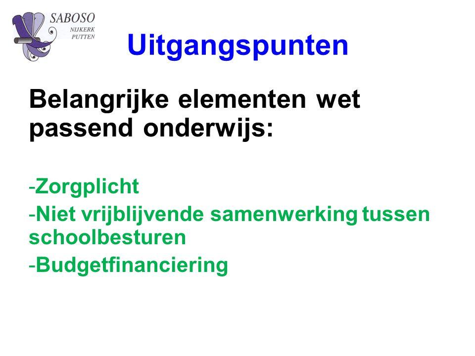 Uitgangspunten Belangrijke elementen wet passend onderwijs: -Zorgplicht -Niet vrijblijvende samenwerking tussen schoolbesturen -Budgetfinanciering
