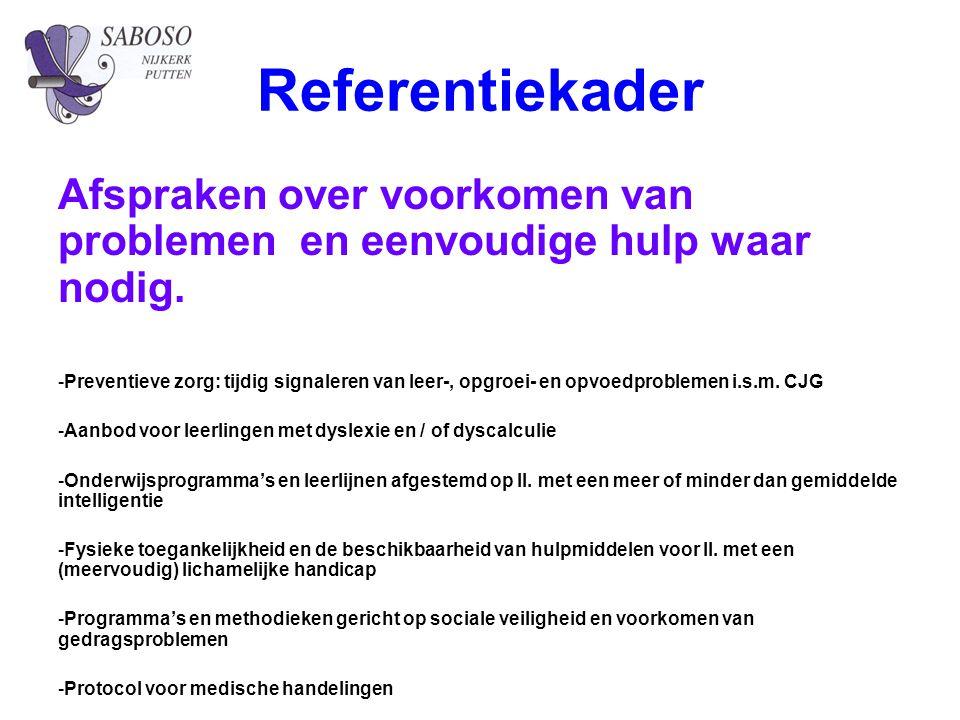 Referentiekader Afspraken over voorkomen van problemen en eenvoudige hulp waar nodig.