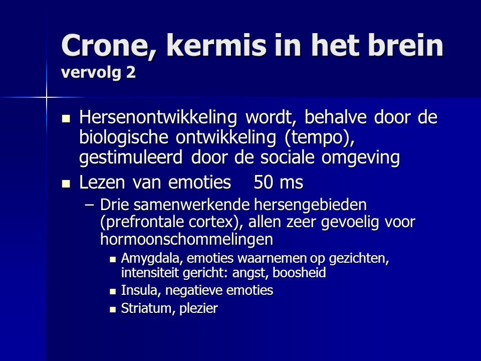 Crone, kermis in het brein vervolg 2 Hersenontwikkeling wordt, behalve door de biologische ontwikkeling (tempo), gestimuleerd door de sociale omgeving