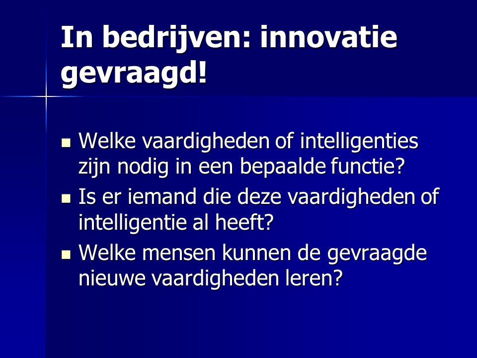 In bedrijven: innovatie gevraagd! Welke vaardigheden of intelligenties zijn nodig in een bepaalde functie? Welke vaardigheden of intelligenties zijn n