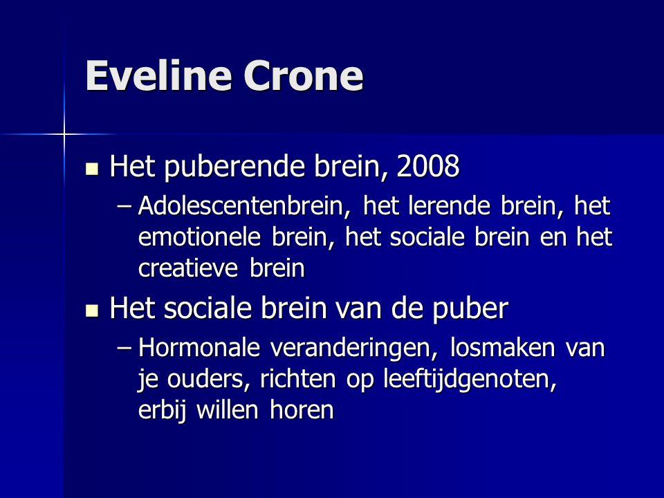 Eveline Crone Het puberende brein, 2008 Het puberende brein, 2008 –Adolescentenbrein, het lerende brein, het emotionele brein, het sociale brein en he
