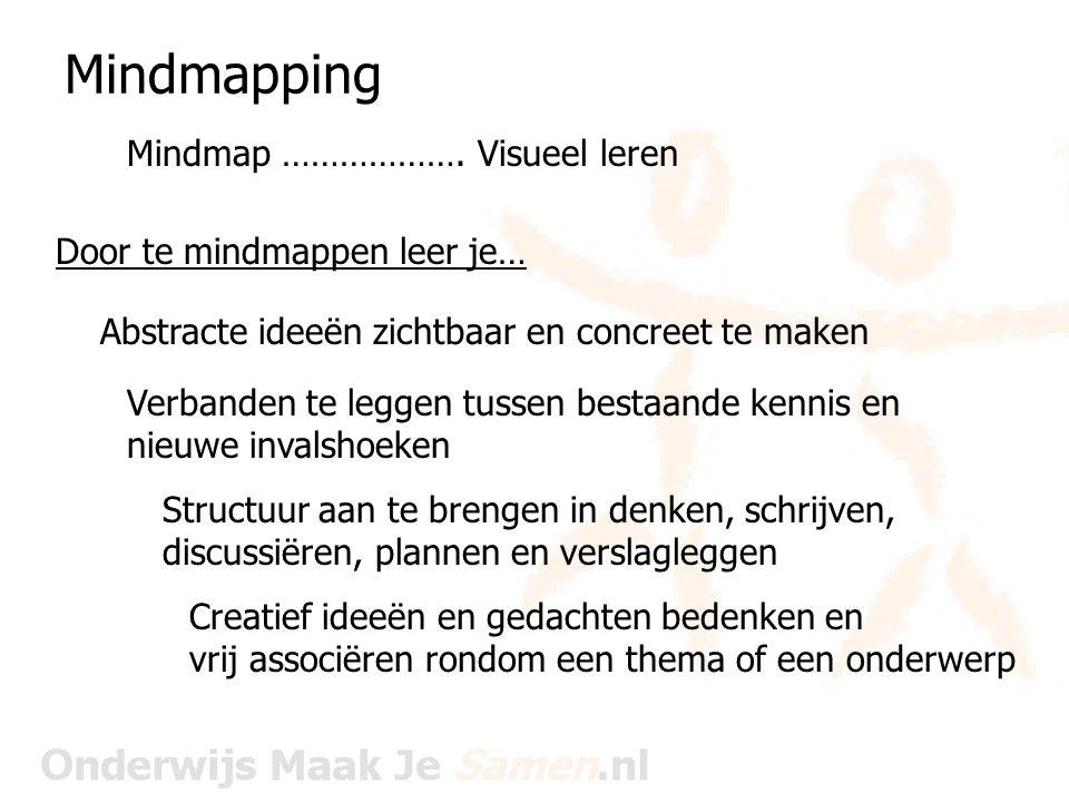 Mindmapping Mindmap ………………. Visueel leren Abstracte ideeën zichtbaar en concreet te maken Verbanden te leggen tussen bestaande kennis en nieuwe invals