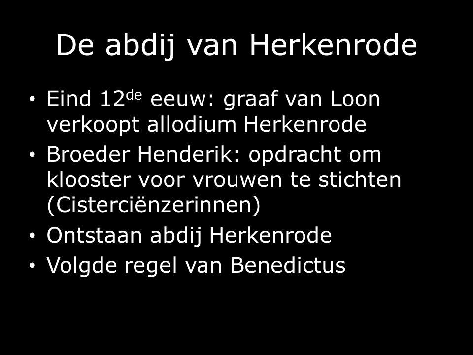 De abdij van Herkenrode Eind 12 de eeuw: graaf van Loon verkoopt allodium Herkenrode Broeder Henderik: opdracht om klooster voor vrouwen te stichten (Cisterciënzerinnen) Ontstaan abdij Herkenrode Volgde regel van Benedictus