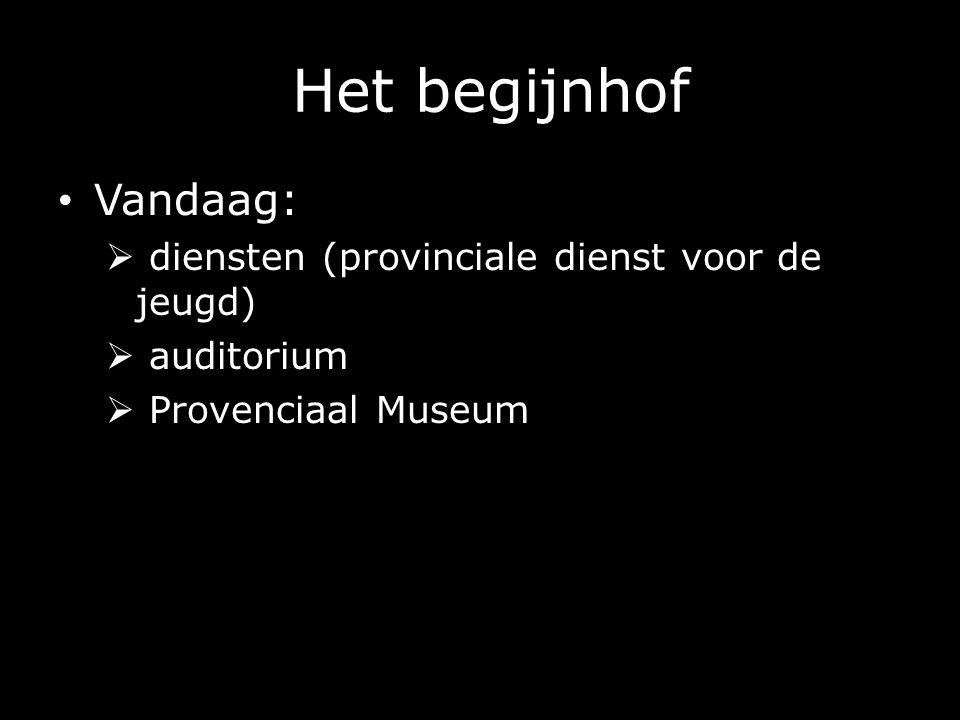 Het begijnhof Vandaag:  diensten (provinciale dienst voor de jeugd)  auditorium  Provenciaal Museum