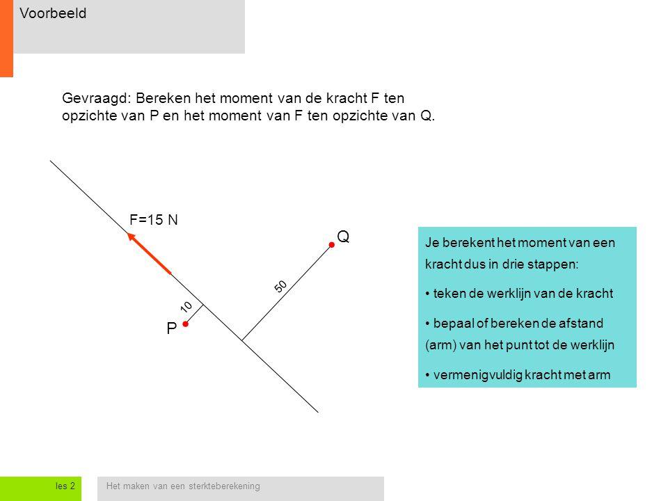 Het maken van een sterkteberekeningles 2 10 50 Voorbeeld P Q F=15 N Gevraagd: Bereken het moment van de kracht F ten opzichte van P en het moment van