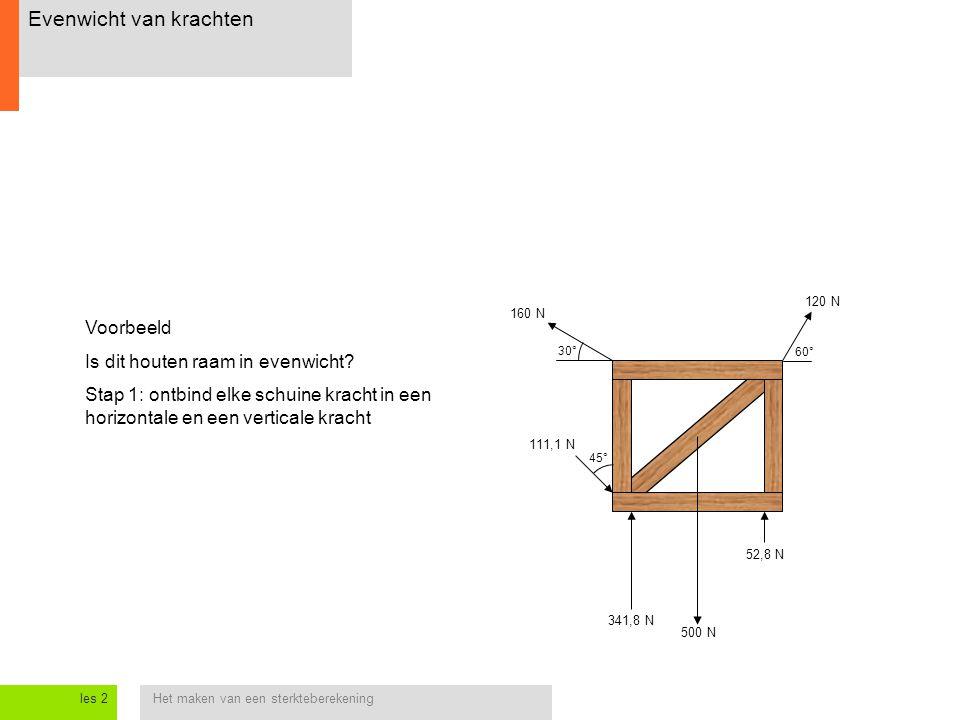 Het maken van een sterkteberekeningles 2 Evenwicht van krachten 30° 60° 120 N 160 N 500 N 111,1 N 341,8 N 52,8 N 45° Voorbeeld Is dit houten raam in e