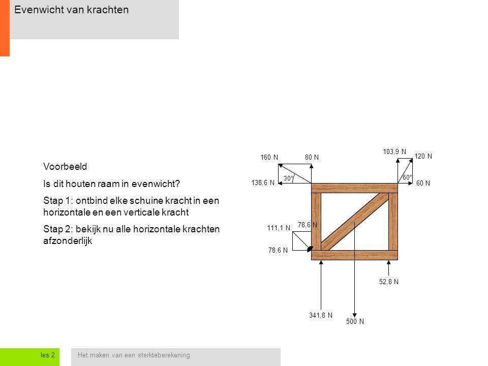 Het maken van een sterkteberekeningles 2 Evenwicht van krachten 138,6 N 80 N160 N 30° 60 N 103,9 N 120 N 60° 78,6 N 111,1 N Voorbeeld Is dit houten ra