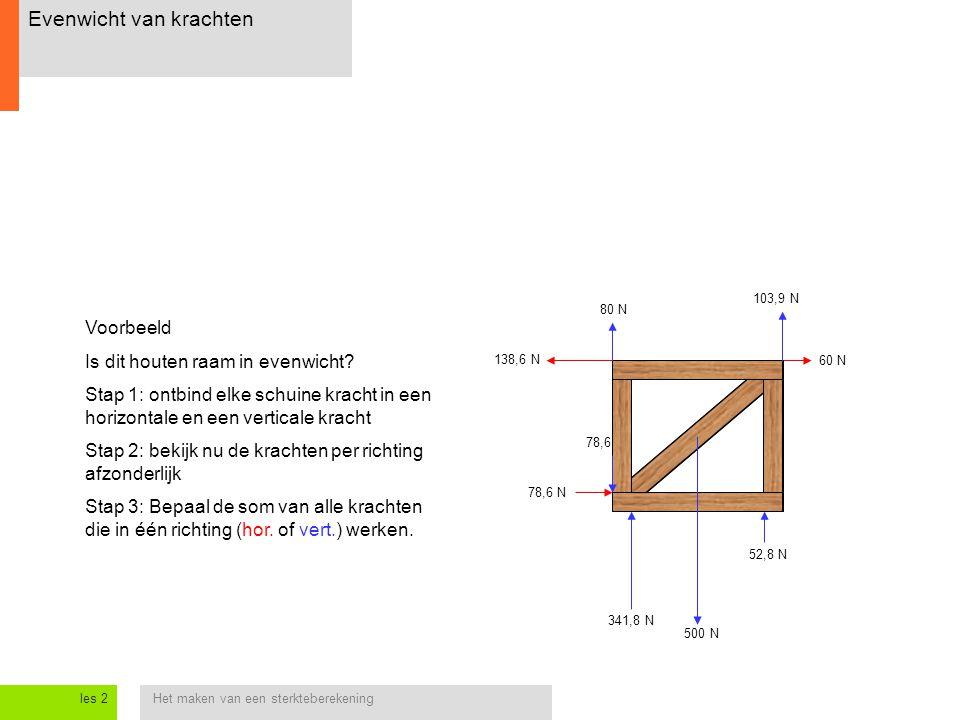 Het maken van een sterkteberekeningles 2 Evenwicht van krachten 138,6 N 60 N 78,6 N 52,8 N 78,6 N 500 N 80 N 103,9 N 341,8 N Voorbeeld Is dit houten r