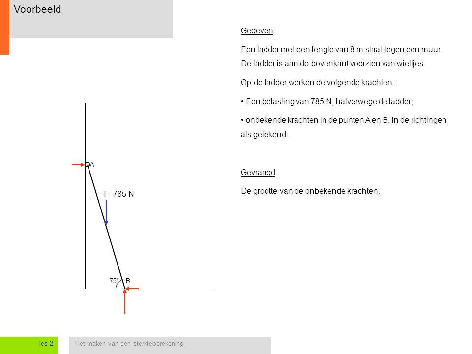 Het maken van een sterkteberekeningles 2 Voorbeeld 75° A B Gegeven Een ladder met een lengte van 8 m staat tegen een muur. De ladder is aan de bovenka