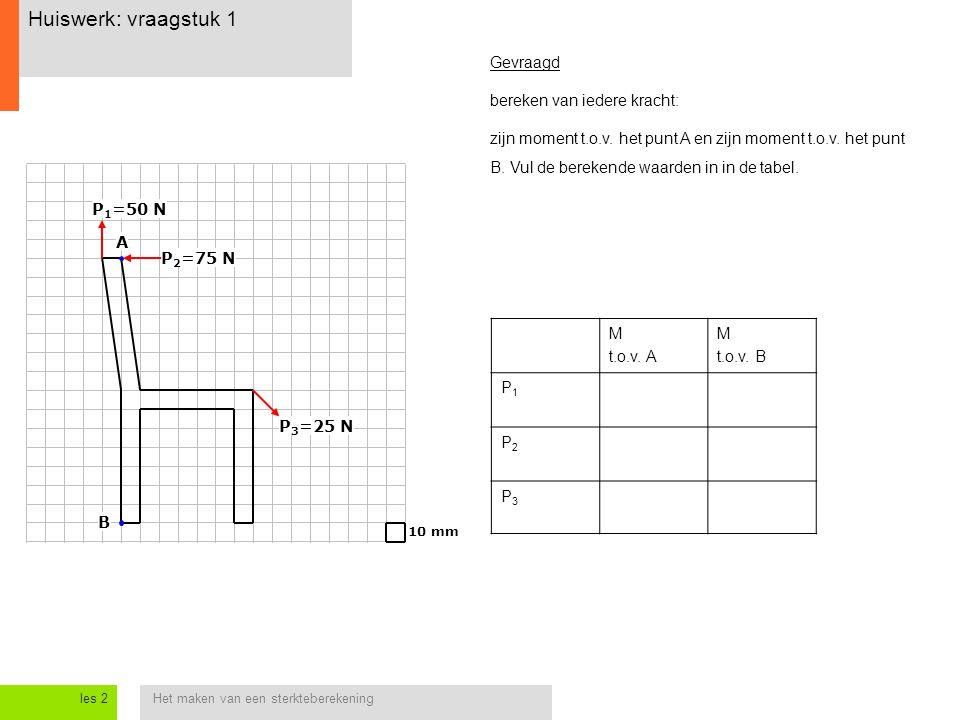 Het maken van een sterkteberekeningles 2 Huiswerk: vraagstuk 1 10 mm P 1 =50 N P 2 =75 N P 3 =25 N A B M t.o.v. A M t.o.v. B P1P1 P2P2 P3P3 Gevraagd b
