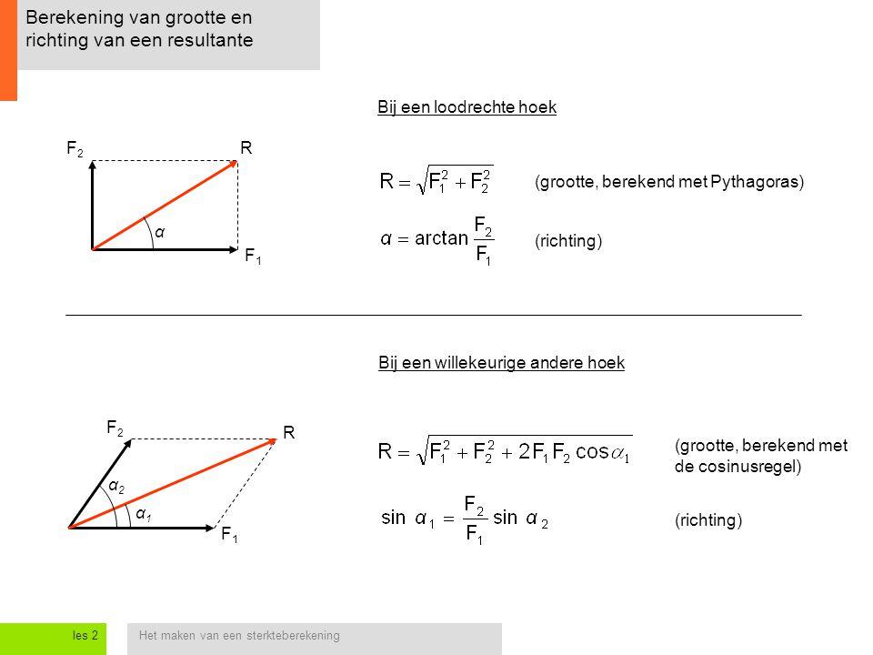 Het maken van een sterkteberekeningles 2 Berekening van grootte en richting van een resultante F1F1 F2F2 R Bij een loodrechte hoek (grootte, berekend