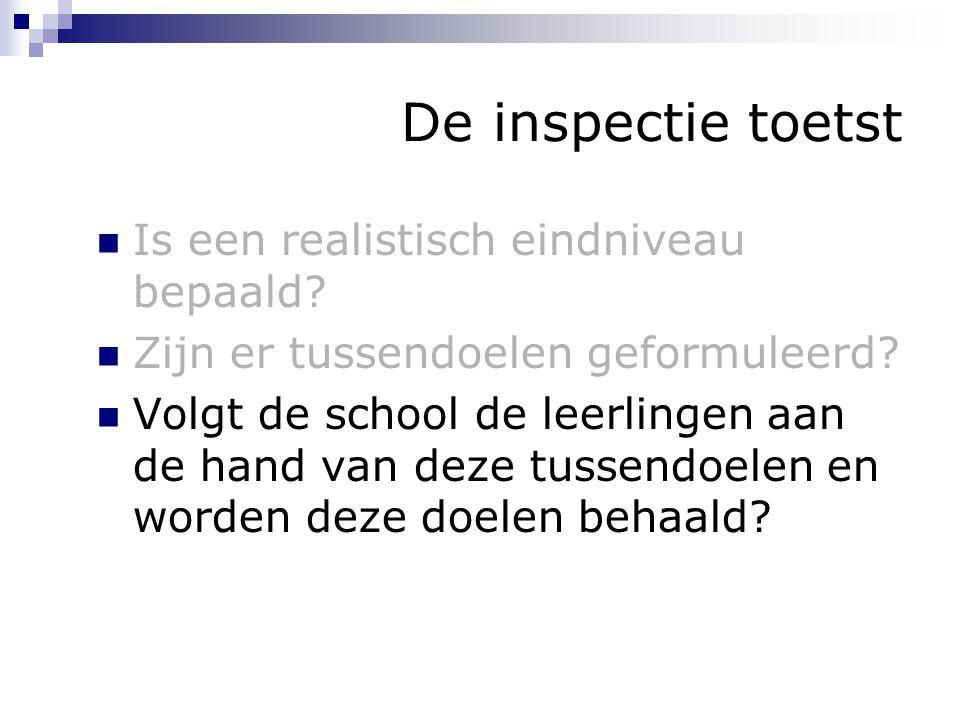 De inspectie toetst Is een realistisch eindniveau bepaald? Zijn er tussendoelen geformuleerd? Volgt de school de leerlingen aan de hand van deze tusse