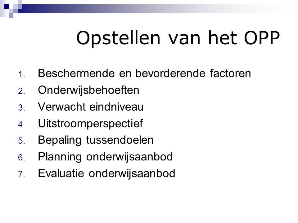 Opstellen van het OPP 1. Beschermende en bevorderende factoren 2. Onderwijsbehoeften 3. Verwacht eindniveau 4. Uitstroomperspectief 5. Bepaling tussen