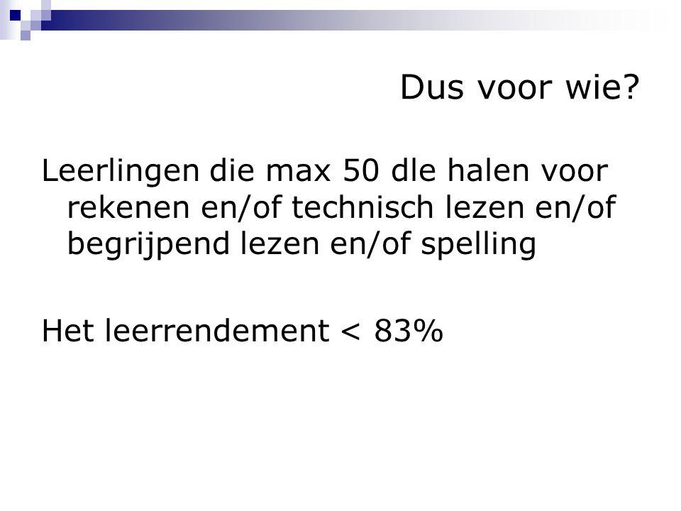 Dus voor wie? Leerlingen die max 50 dle halen voor rekenen en/of technisch lezen en/of begrijpend lezen en/of spelling Het leerrendement < 83%
