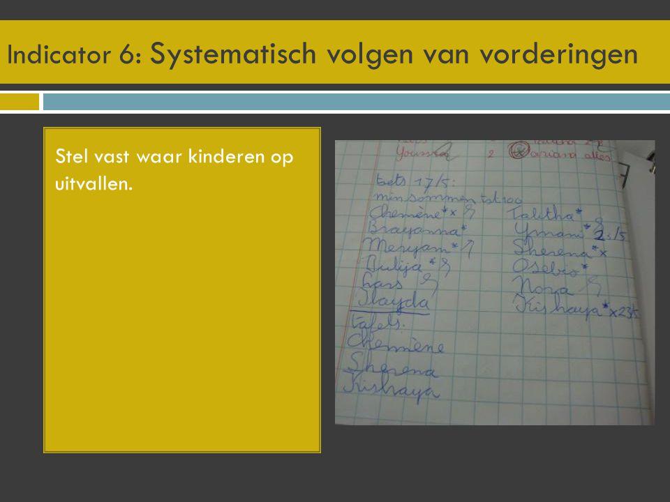 Indicator 6: Systematisch volgen van vorderingen Stel vast waar kinderen op uitvallen.