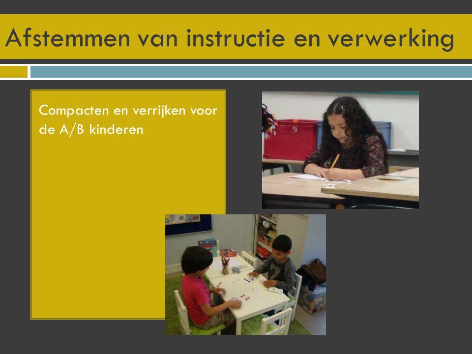 Afstemmen van instructie en verwerking Compacten en verrijken voor de A/B kinderen