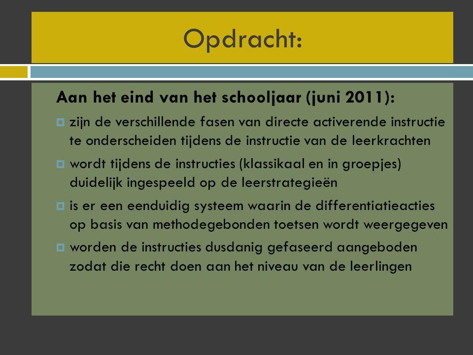 Opdracht: Aan het eind van het schooljaar (juni 2011):  zijn de verschillende fasen van directe activerende instructie te onderscheiden tijdens de in