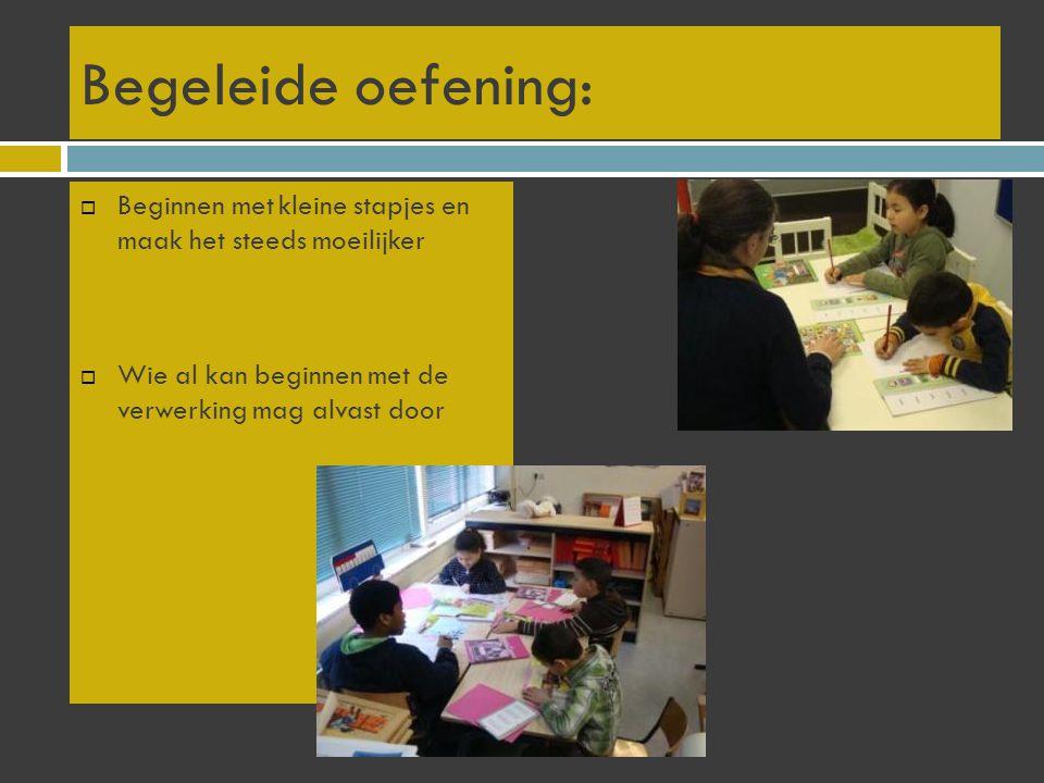 Indicator 7: Afstemmen van instructie en verwerking Cluster het aanbod in groepjes leerlingen met gelijke onderwijsbehoeften