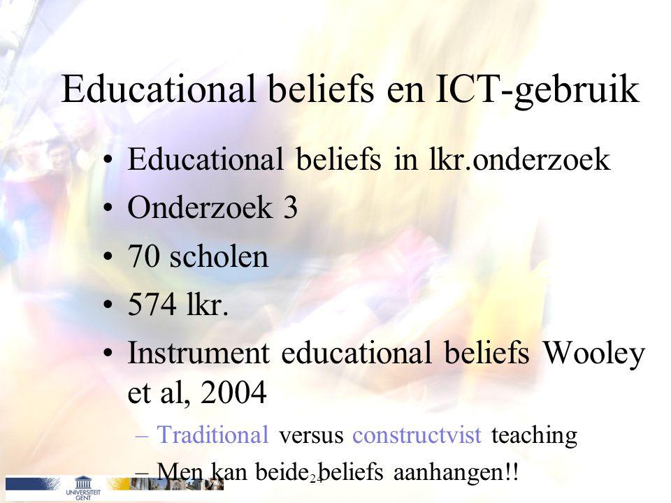Educational beliefs en ICT-gebruik Educational beliefs in lkr.onderzoek Onderzoek 3 70 scholen 574 lkr. Instrument educational beliefs Wooley et al, 2